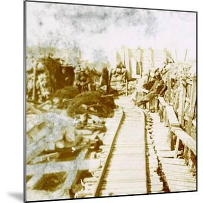 Trenches and railway line, Yser south, Diksmuide, Belgium, c1914-c1918-Unknown-Mounted Photographic Print