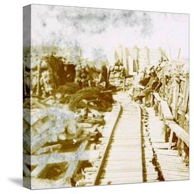 Trenches and railway line, Yser south, Diksmuide, Belgium, c1914-c1918-Unknown-Stretched Canvas Print