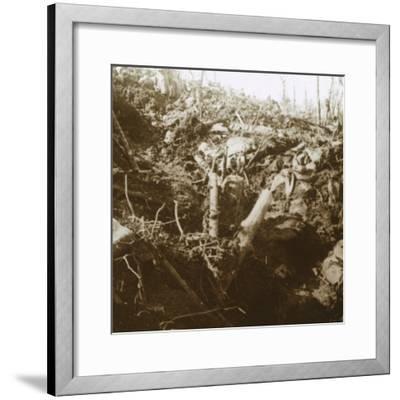 Destroyed shelter, Les Éparges, northern France, 1915-Unknown-Framed Photographic Print