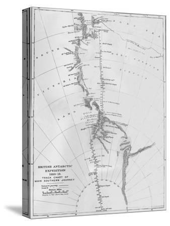 'Map - British Antarctic Expedition 1910-13. Track Chart of Main Southern Journey', 1913-Unknown-Stretched Canvas Print