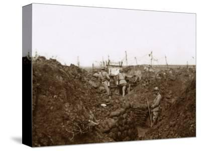 Soldiers in the trenches, Massiges, northern France, c1914-c1918-Unknown-Stretched Canvas Print