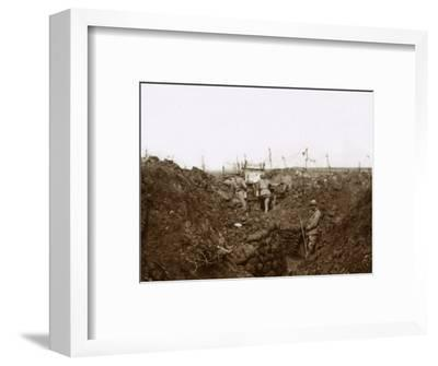 Soldiers in the trenches, Massiges, northern France, c1914-c1918-Unknown-Framed Photographic Print