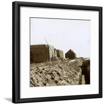 Post on the Yser, Flanders, Belgium, c1914-c1918-Unknown-Framed Photographic Print