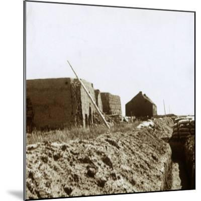 Post on the Yser, Flanders, Belgium, c1914-c1918-Unknown-Mounted Photographic Print
