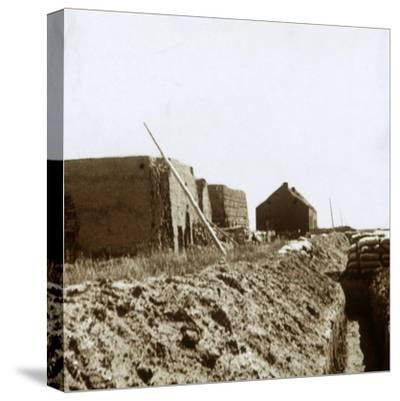 Post on the Yser, Flanders, Belgium, c1914-c1918-Unknown-Stretched Canvas Print