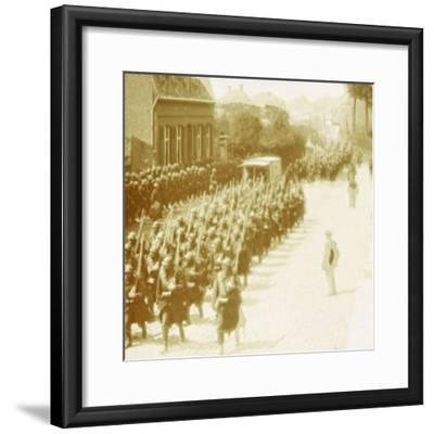 Troops marching, Alveringem, Flanders, Belgium, c1914-c1918-Unknown-Framed Photographic Print