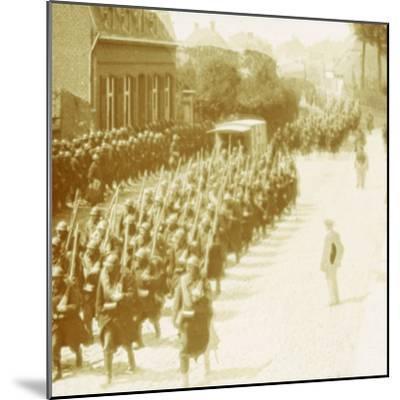 Troops marching, Alveringem, Flanders, Belgium, c1914-c1918-Unknown-Mounted Photographic Print