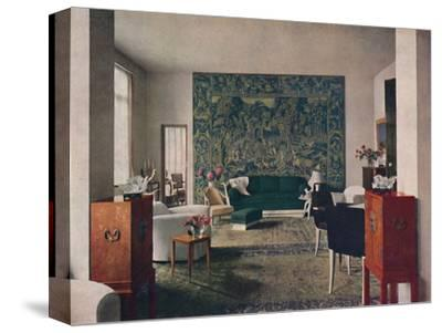 'Living-room designed by Porteneuve & Dominique, the end wall of which is hung with an old tapestry-Unknown-Stretched Canvas Print