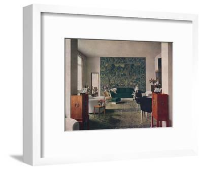 'Living-room designed by Porteneuve & Dominique, the end wall of which is hung with an old tapestry-Unknown-Framed Photographic Print