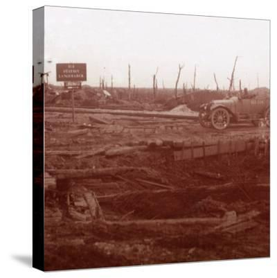 Langemarck station, Flanders, Belgium, c1914-c1918-Unknown-Stretched Canvas Print