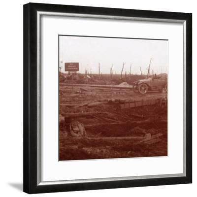 Langemarck station, Flanders, Belgium, c1914-c1918-Unknown-Framed Photographic Print
