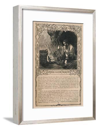 'Crusoe Making Baskets', c1870-Unknown-Framed Giclee Print
