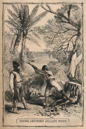 'Crusoe and Friday Felling Wood', c1870-Unknown-Framed Giclee Print