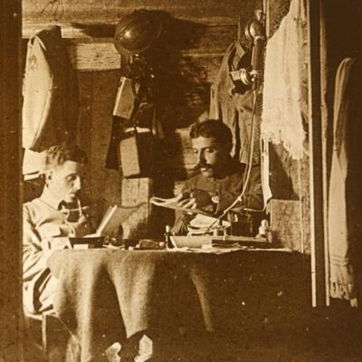 Reading in the trenches, c1914-c1918-Unknown-Framed Photographic Print