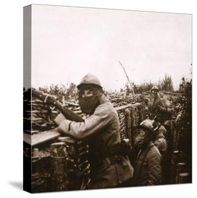 Gas alert in trenches, Champagne, northern France, 1916-Unknown-Stretched Canvas Print