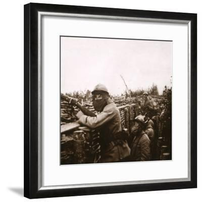 Gas alert in trenches, Champagne, northern France, 1916-Unknown-Framed Photographic Print