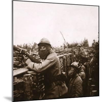 Gas alert in trenches, Champagne, northern France, 1916-Unknown-Mounted Photographic Print