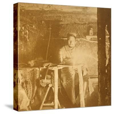 French soldier underground, c1914-c1918-Unknown-Stretched Canvas Print