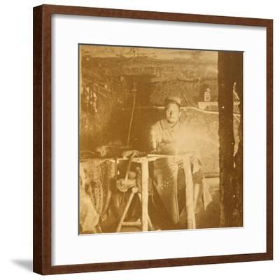 French soldier underground, c1914-c1918-Unknown-Framed Photographic Print