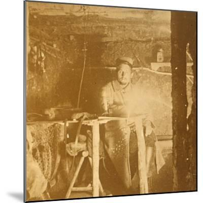 French soldier underground, c1914-c1918-Unknown-Mounted Photographic Print