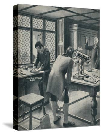 'Newton Invents a New Telescope', c1934-Unknown-Stretched Canvas Print