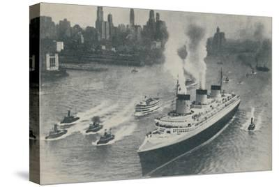 'Arrival at New York of the Normandie', 1936-Unknown-Stretched Canvas Print