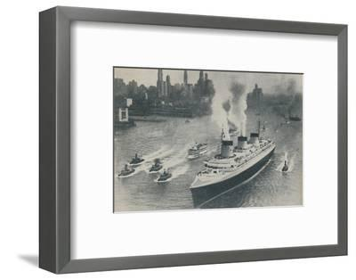 'Arrival at New York of the Normandie', 1936-Unknown-Framed Photographic Print