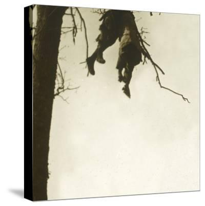 Body in tree, Bois d'Avocourt, Verdun, northern France, c1914-c1918-Unknown-Stretched Canvas Print