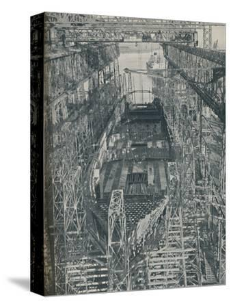 'A Nest of Steel. Cunard White Star liner Georgic in construction, 1927-1929, (1936)-Unknown-Stretched Canvas Print