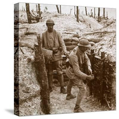Throwing grenades, front line, c1914-c1918-Unknown-Stretched Canvas Print