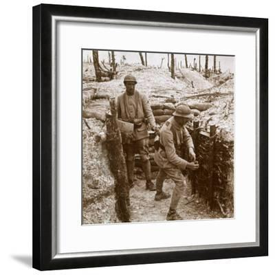 Throwing grenades, front line, c1914-c1918-Unknown-Framed Photographic Print
