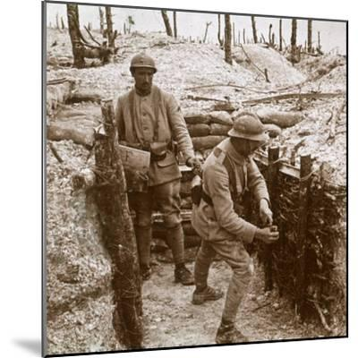Throwing grenades, front line, c1914-c1918-Unknown-Mounted Photographic Print