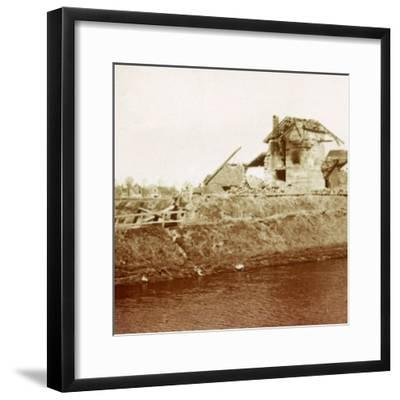 Lock-keeper's house, Nieuwpoort, Flanders, Belgium, c1914-c1918-Unknown-Framed Photographic Print