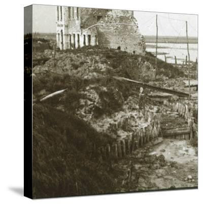 Ruined building and trenches along the coast, c1914-c1918-Unknown-Stretched Canvas Print