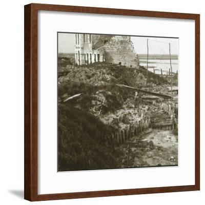Ruined building and trenches along the coast, c1914-c1918-Unknown-Framed Photographic Print