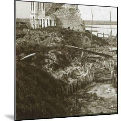 Ruined building and trenches along the coast, c1914-c1918-Unknown-Mounted Photographic Print