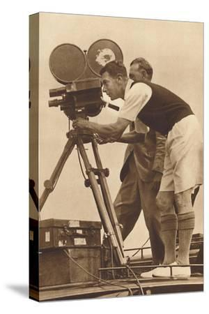 'Film-maker - Making a cinema record at one of his annual camps for boys', 1927 (1937)-Unknown-Stretched Canvas Print
