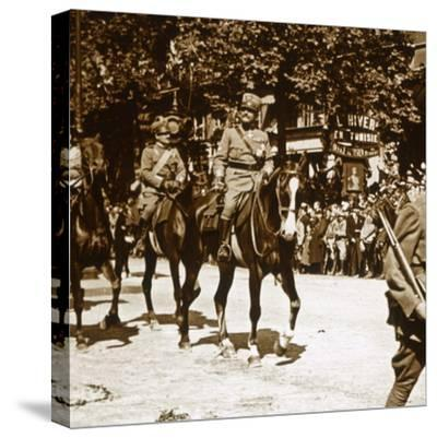 Italian officers during victory parade, 1918-Unknown-Stretched Canvas Print