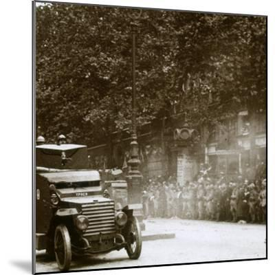 Machine gun mounted in armoured vehicle, victory parade, c1918-Unknown-Mounted Photographic Print