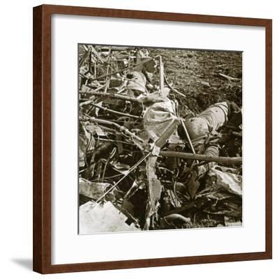 Crashed plane, Aisne, France, c1914-c1918-Unknown-Framed Photographic Print