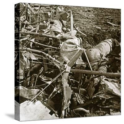 Crashed plane, Aisne, France, c1914-c1918-Unknown-Stretched Canvas Print