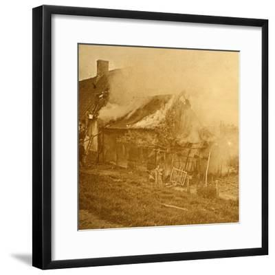 House hit by a shell, c1914-c1918-Unknown-Framed Photographic Print