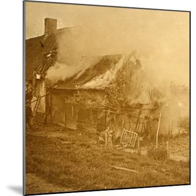 House hit by a shell, c1914-c1918-Unknown-Mounted Photographic Print