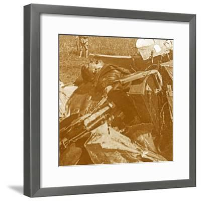 Downed German plane with pilot, c1914-c1918-Unknown-Framed Photographic Print