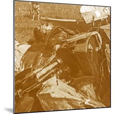 Downed German plane with pilot, c1914-c1918-Unknown-Mounted Photographic Print