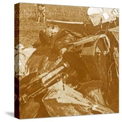 Downed German plane with pilot, c1914-c1918-Unknown-Stretched Canvas Print