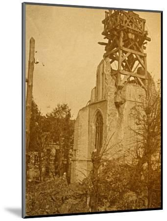 Damaged church, c1914-c1918-Unknown-Mounted Photographic Print