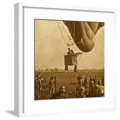 Observation of enemy positions from a barrage balloon, c1914-c1918-Unknown-Framed Photographic Print