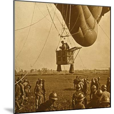 Observation of enemy positions from a barrage balloon, c1914-c1918-Unknown-Mounted Photographic Print