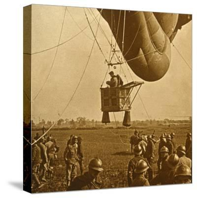 Observation of enemy positions from a barrage balloon, c1914-c1918-Unknown-Stretched Canvas Print